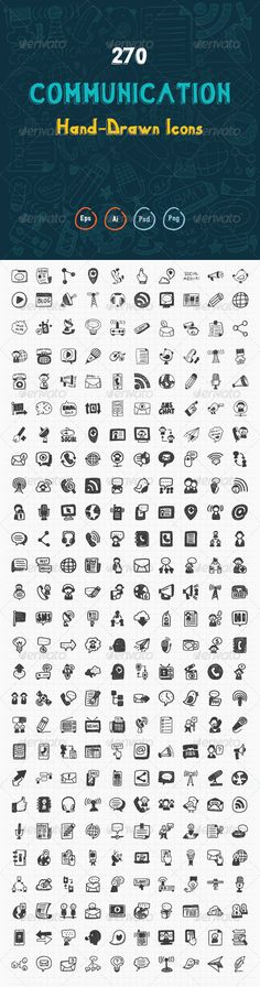 270 Hand Drawn Communication Icons | Buy and Download: http://graphicriver.net/item/270-hand-drawn-communication-icons/8172884?WT.ac=category_thumb&WT.z_author=iconsoul&ref=ksioks