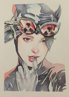 My watercolors catwoman!