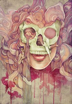 """Kathy Murysina Confronts Death  '... after all of these unexpected developments in my life, i started to think about death. It's not high philosophic thoughts, it's just some shapes and colors and feelings. Main question which have been in my head was """"What does happen with the human when the body stops working"""". This illustration is not answer. With new future illustrations i will try to find the answer for myself....'"""