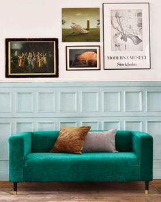 IKEA hack Klippan: Zaragoza Vintage Velvet Emerald sofa cover by Bemz and legs from Pretty Pegs
