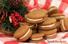 Soft, spicy cookies sandwiched with creamy cinnamon-cream cheese frosting. Cookie Desserts, Cookie Recipes, Dessert Recipes, Cookie Ideas, Fall Recipes, Holiday Recipes, Christmas Recipes, Low Calorie Desserts, Ginger Cookies
