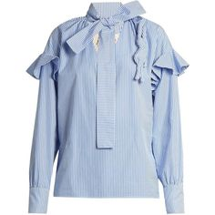 A.W.A.K.E. Ruffled striped cotton blouse (1.670 RON) ❤ liked on Polyvore featuring tops, blouses, blue white, bow shirt, blue and white striped shirt, bow blouse, frilly shirt and cotton shirts