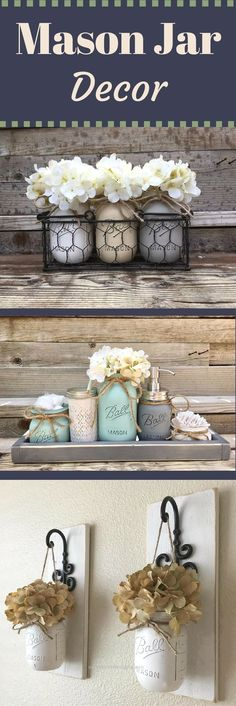 Look Over This Rustic Farmhouse Mason Jar Decor | Home Decor | Shabby Chic | Housewarming Gift Ideas | Wedding Gift Ideas Sponsored  The post  Rustic Farmhouse Mason Jar Decor | Ho ..