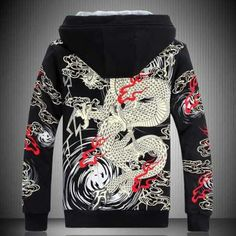 Mens Sweatshirt Sukajan Hoodie Chinese Dragon Embroidered Hooded Short Tops Size