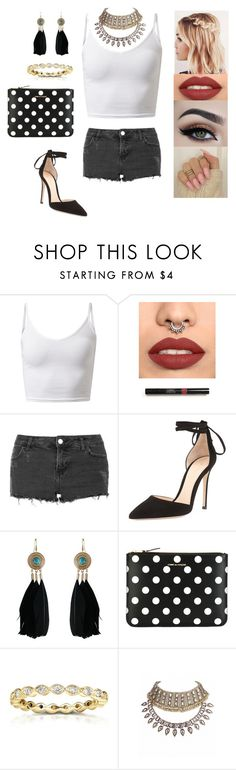 """""""Untitled #4264"""" by sigalv ❤ liked on Polyvore featuring Topshop, Gianvito Rossi, Chicnova Fashion, Comme des Garçons and Kobelli"""