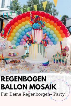 Somewhere, over the rainboooow… wieso eigentlich irgendwo? Unser wunderschöner Regenbogen Ballon Mosaik macht ganz bestimmt Deine nächste Feier um einiges bunter. Der Regenbogen Ballon Mosaik passt übrigens prima zu unserer Magical Unicorn... in a box und lässt nicht nur Mädchenherzen höher schlagen. Foto by Felicitas von Imhoff. Party Box, Diy Party, Diy Ballon, Rainbow Balloons, Party Decoration, Birthday Cake, Easy, Diy, Crafting