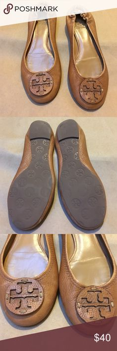 Tory Burch Riva Ballet Flat Saddle color leather with leather double t logo Tory Burch Shoes Flats & Loafers