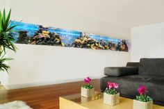 modern living room with in wall fish tank