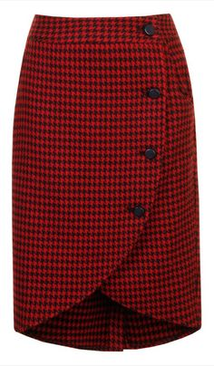 Loving this Alice's Pig Red & Black Houndstooth Wendy's Wrap Skirt on Casual Dress Outfits, Casual Skirts, Skirt Outfits, Dress Skirt, Trendy Fashion, Womens Fashion, Fashion Kids, Cute Skirts, Houndstooth