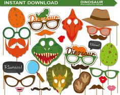INSTANT DOWNLOAD-Dinosaur Photobooth Props by AllAboutPartyPrints