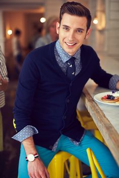Navy cardigan, polka dot shirt and mint chinos