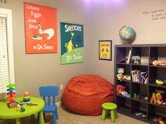 Kids playroom love the dr Seuss posters.