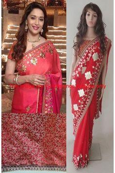 Designer Georgette Red Bollywood Saree