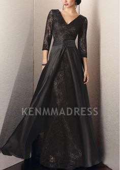 V-neck Zipper A-line Floor-length Black Evening Dresses With Sleeves Dresses