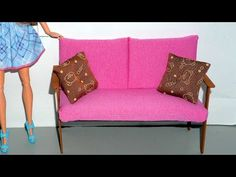 How to make a wooden couch or sofa for doll - miniature crafts DIY - YouTube
