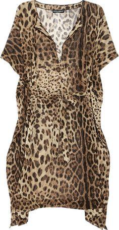 Leopard-print Chiffon Kaftan