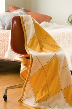 """Check out this excerpt from my new book, Dorm Decor. This low-sew throw gives new meaning to the phrase """"college sweater-vest."""""""