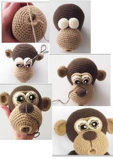 Crochet Dolls Free Patterns, Baby Knitting Patterns, Amigurumi Patterns, Crochet Animals, Crochet Toys, Knit Crochet, Toy Monkey, Fabric Toys, Amigurumi Toys