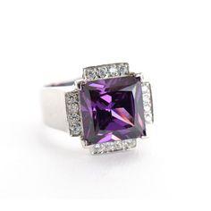 18 Kt White gold natural purple amethyst & diamond ring. Buy Online!