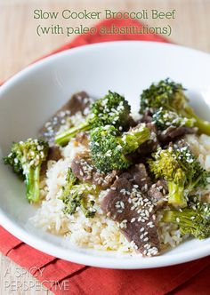 Slow Cooker Broccoli Beef Recipe! A zesty and comforting recipe that could easily been turned into a Paleo Friendly recipe. Broccoli Beef, fresh broccoli