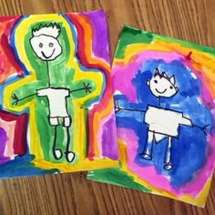 Aura Paintings-students drew themselves as stick people, traced with a fat, chisel tip Sharpie marker, and then traced the edges with liquid watercolor Easy Painting For Kids, Art For Kids, Drawing Lessons For Kids, Art Lessons, Kindergarten Drawing, Kindergarten Crafts, Kindergarten Lessons, Preschool, First Grade Art