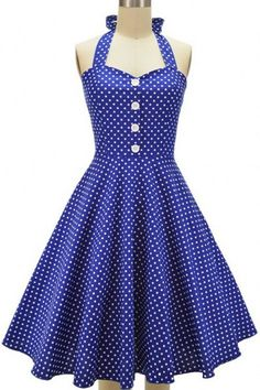 Retro Style Polka Dot Printed Halter Pleated Ball Gown Dress For Women