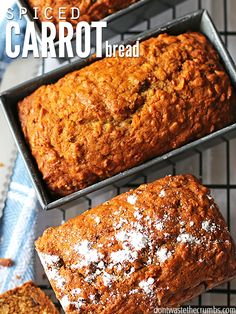 This delicious spiced carrot bread with vanilla chips is a simple and easy recipe designed for the novice bread maker! This recipe is so moist and so tasty, your family won't even know it's carrot bread! Egg And Bread Recipes, Real Food Recipes, Dessert Recipes, Yummy Food, Carrot Bread Recipe Moist, Carrot Cake Bread, Carrot Recipes, Pumpkin Bread, Vegan Desserts