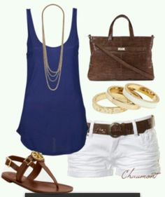 #summer #outfits / Blue Tank Top + White Shorts