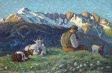 Julius Paul Junghanns: In den Alpen. Ein Bauer, seine Ziegen hütend aus unserer Rubrik: Gemälde des 19. Jahrhunderts