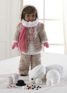 Winter Fun American Girl Doll Crochet Pattern Set at Maggie's Crochet Crochet Doll Clothes, Girl Doll Clothes, Doll Clothes Patterns, Crochet Dolls, Barbie Clothes, Girl Dolls, Doll Patterns, Crochet Patterns, Crochet Stitches