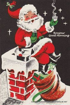 Santa Claus on chimney vintage Christmas card image