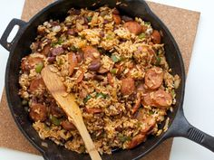 Creole Rice Skillet With Andouille Sausage Bring a taste of the south right to your dinner table with this zesty rice and beans skillet.