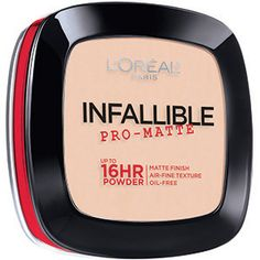 Infallible Pro-Matte Powder by L'Oréal Paris. A mattifying face powder that absorbs excess oil & reduces shine on the skin's surface for up to 16 hours.