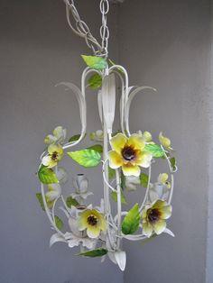 Vintage Tole Flower Chandelier Birdcage Shape by FloridaFound, $145.00 Flower Chandelier, Italian Chandelier, Bird Cage, Little Girls, Glass Vase, Lamps, Shapes, Future, Unique Jewelry
