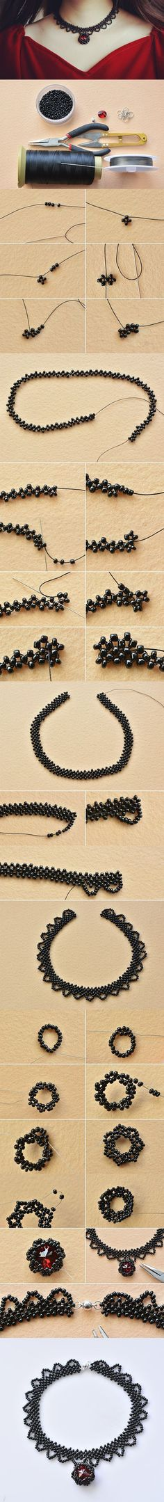 épinglé par ❃❀CM❁✿⊱Get ready to show your handiwork. Here is a tutorial for a handmade vintage choker necklace with black seed beads. After you string up and down the black seed beads as shown, complete the choker wi… Bead Jewellery, Seed Bead Jewelry, Seed Beads, Beaded Jewelry, Jewellery Shops, Jewelry Stores, Jewellery Holder, Handmade Jewellery, Earrings Handmade