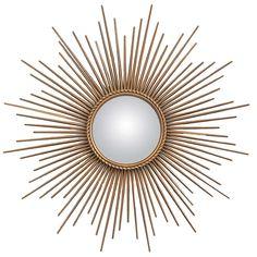 French Vintage Brass Sunburst Convex Mirror