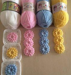 crochet et tricot Halloween Makeup halloween makeup rose Crochet Motifs, Crochet Flower Patterns, Crochet Squares, Crochet Designs, Crochet Flowers, Knitting Stitches, Baby Knitting, Crochet Baby, Knitting Patterns