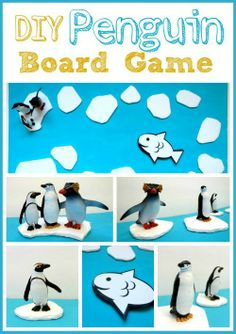 This easy DIY Penguin board game is fun for all kinds of learning! Penguin trivia, colors, shapes, the alphabet, sight words, math problems,...