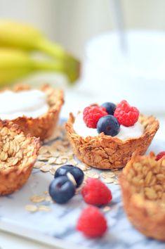 Sprinkles Dress: Cestini avena e yogurt Healthy Snacks, Healthy Recipes, Nutrition, Light Recipes, Vegan Desserts, Food Hacks, Sweet Recipes, Bakery, Good Food