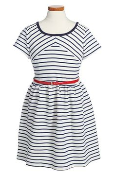 BLUSH by Us Angels Stripe Skater Dress (Big Girls) available at #Nordstrom