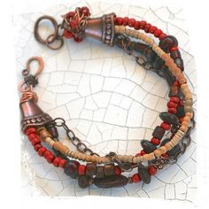 red+rustic+bracelet+glass+Indonesian+clay+by+rocksandpaperswans