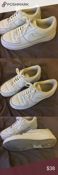 Nike Air Force 1 All White US 8.5 womens/ 7 mens Great condition, only a little bit of creasing, still very white. Size 7 mens, 8.5 womens. Nike Shoes Sneakers