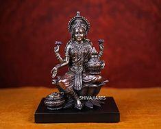 """Lakshmi Statue - 8"""" inch Hindu Goddess of Wealth Sitting Laxmi on Wooden Stand - Laxmi Idol for Diwali puja Temple Al..."""