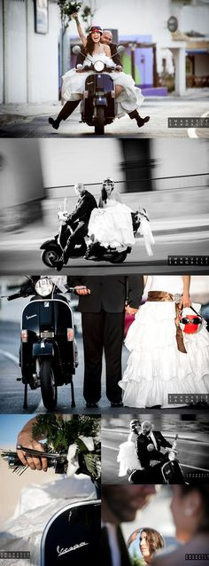 Vespa style wedding! Creative natural and hilarious wedding pictures. All the pictures were taken in the charming village of Cabo de Palos, in Southern Spain. Part of the photo album appeared in the o (Cool Photography Creative)
