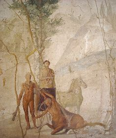 """Hercules and Centaur Nessus"" - from House of Jason at Pompeii - Naples Archaeological Museum 