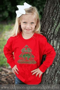 PERSONALIZED FULL FRONT YOUTH AZTEC CHRISTMAS TREE LONG SLEEVE SHIRT (SHIPS IN 2-3 WEEKS)