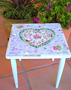 Mosaic Small Shabby Side Table with by 2ndTimeAroundMosaics, $100.00