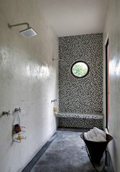 Wonderful Mexico Residence Built With Original Maya Tools : Inspiring Mexico Residence With White Black Bathroom Wall Shower Mirror Towel Ceramic Floor Window Concrete Bathroom, Bathroom Wall, Small Bathroom, Funky Bathroom, Shower Bathroom, Concrete Floor, Shower Mirror, Shower Window, Shower Seat