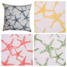 16x16 Starfish Print Beach Theme Decorative by PlumandLitton, $12.99