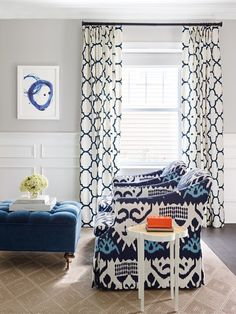 Stephanie Kraus Designs, LLC. Older House Renovation Before and After. Riad draperies. Blue and white.. Quadrille fabric, lee industries swivel chairs